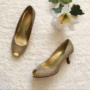 Liz Claiborne Leather Peep Toe Heels Tan 7.5